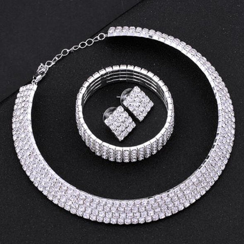 Silver Circle Crystal Bridal Jewelry Sets