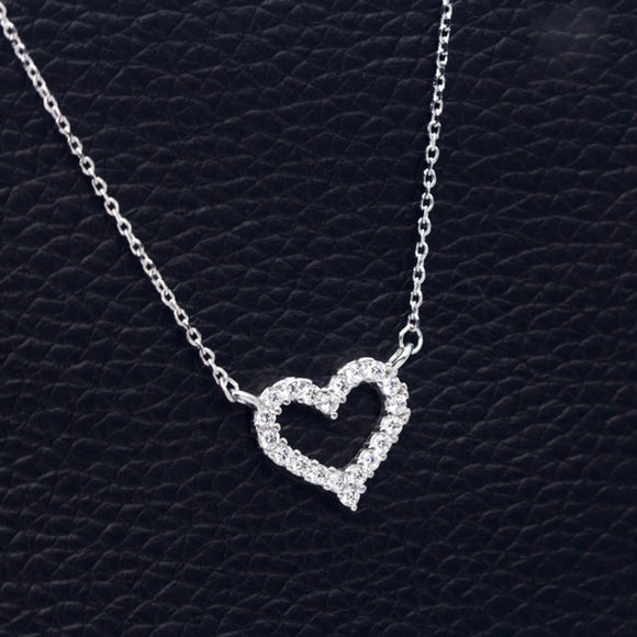 DXJEL Republic Dropship Suppliers 100% 925 Sterling Silver Love Heart Necklaces for Women Vip Link Dropshipping Center 2020