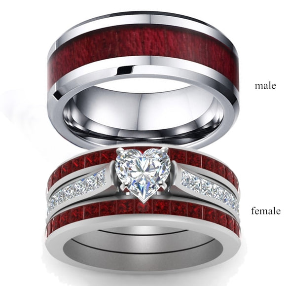 Fashion Jewelry Brown Red Stainless Steel Couple Ring Casual Male Ring Elegant Female Ring Engagement Valentine's Day Gift