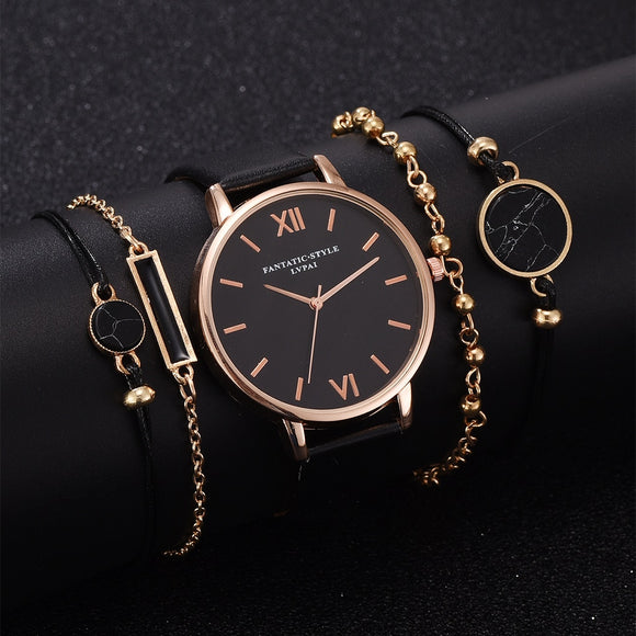Watch Set Women 5pcs Woman Quartz Wristwatch Leather Ladies Bracelet Luxury Watch Casual Relogio Femenino Gift For Girlfriend