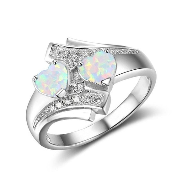 Moonstone Blue Heart Fire Opal Ring