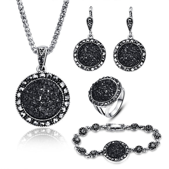 Vintage Black Jewelry Set Crystal Round Stone Pendant Necklace