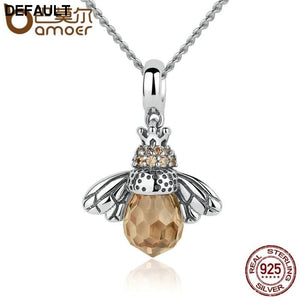 BAMOER 925 Sterling Silver Lovely Orange Bee Animal Pendants Necklace for Women Fine Jewelry CC035 - DRE's Electronics and Fine Jewelry: Online Shopping Mall