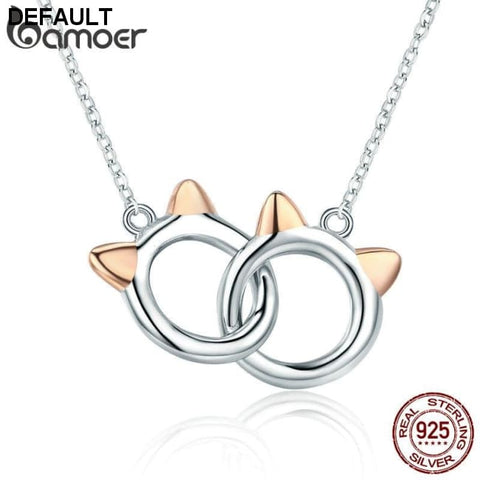 BAMOER New Arrival Genuine 925 Sterling Silver Pet Cat Handcuffs Cute Animal Pendant Necklaces Women Silver Jewelry Gift SCN252 - DRE's Electronics and Fine Jewelry: Online Shopping Mall