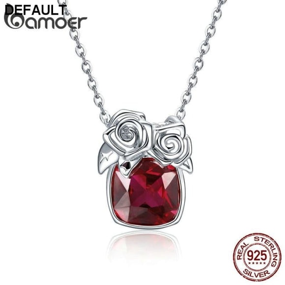 BAMOER Romantic 925 Sterling Silver Rose Flower Pendant Necklaces for Women Valentine Gift Red CZ Sterling Silver Jewelry BSN003 - DRE's Electronics and Fine Jewelry: Online Shopping Mall