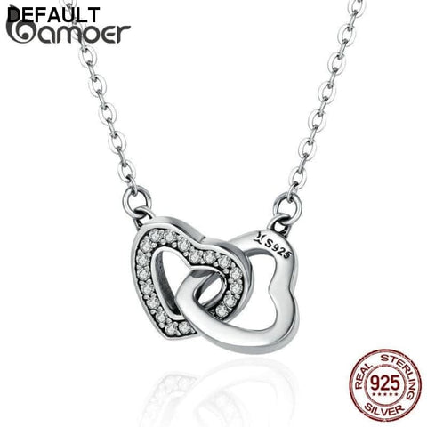 BAMOER Valentine Day Gift 925 Sterling Silver Connected Heart Couple Heart Pendant Necklace for Girlfriend Silver Jewelry SCN181 - DRE's Electronics and Fine Jewelry: Online Shopping Mall
