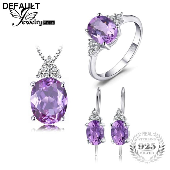 JewelryPalace Classic 7ct Created Alexandrite Ring Pendant Necklaces Drop Earrings Jewelry Sets 925 Sterling Silver Chain 45cm - DRE's Electronics and Fine Jewelry: Online Shopping Mall