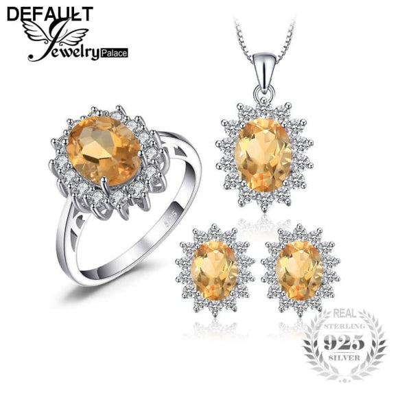 Jewelrypalace Diana Style Natural Citrine Ring Pendant Earring Jewelry Set Pure 925 Sterling Silver Fine Jewelry Set - DRE's Electronics and Fine Jewelry: Online Shopping Mall