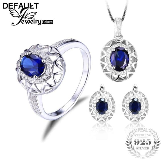 Jewelrypalace Oval  925 Sterling Silver Jewelry Set Blue Created Sapphire Ring Pendant Earring Clip Brand For Women Fine Jewelry - DRE's Electronics and Fine Jewelry: Online Shopping Mall