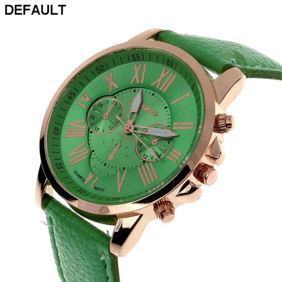 New Women's Fashion Geneva Roman Numerals Faux Leather Analog Quartz Wrist Watch -Green - DRE's Electronics and Fine Jewelry: Online Shopping Mall