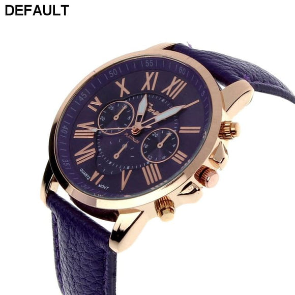New Women's Fashion Geneva Roman Numerals Faux Leather Analog Quartz Wrist Watch - Purple - DRE's Electronics and Fine Jewelry: Online Shopping Mall