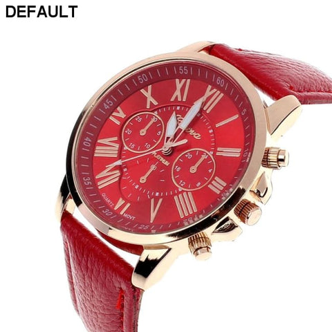 New Women's Fashion Geneva Roman Numerals Faux Leather Analog Quartz Wrist Watch - Red - DRE's Electronics and Fine Jewelry: Online Shopping Mall