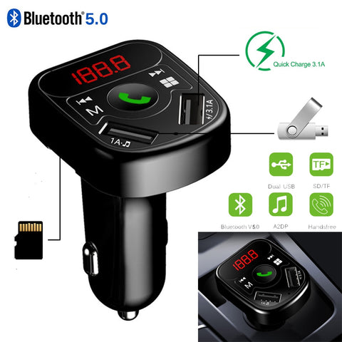 Car Kit FM Transmitter Bluetooth 5.0 Car MP3 Radio Modulator Transmisor with Dual USB Charger 3.1A Quick Charge Handsfree DY400 - DRE's Electronics and Fine Jewelry: Online Shopping Mall