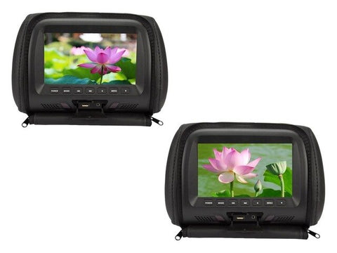 New One Pair 7 inches Car Headrest Monitor LED Screen with Zipper Video Music Multimedia USB SD Player MP4 MP5 SH7048-P5-Zip