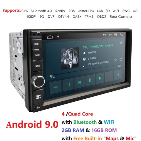 2G RAM Android 9.0 Auto Radio Quad Core 7Inch 2DIN Universal Car NO DVD player GPS Stereo Audio Head unit Support DAB DVR OBD BT - DRE's Electronics and Fine Jewelry: Online Shopping Mall