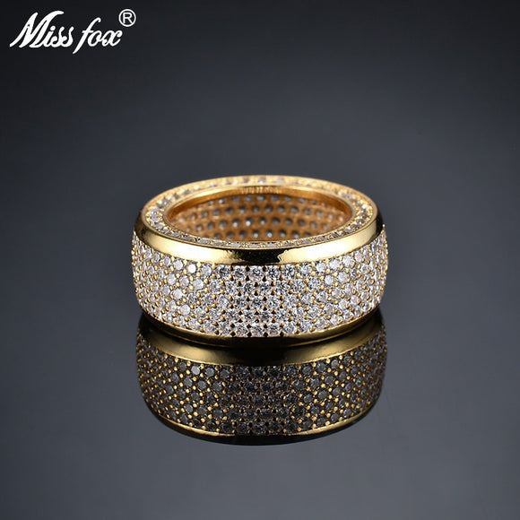 Missfox Hip Hop Blingbling Jewelry Ring Unique Full Lab Diamond Gold Color Rings Personality High Quality For Male Gift 2019 New
