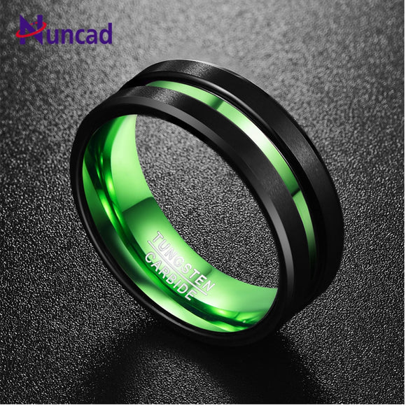 NUNCAD Men's Black Matte Finish Tungsten Carbide Ring Green Center Groove Polished Beveled Edges Comfort Fit Size 6-16  hot sell