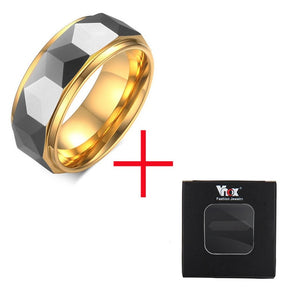 VNOX 100% Tungsten Men Ring Wedding Male Jewelry Gold Color 8mm Width Dropshipping