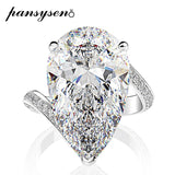 PANSYSEN Exquisite Sparking Pear Cut 12x22MM Created Moissanite Wedding Engagement Ring Solid 925 Sterling Silver Jewelry Rings