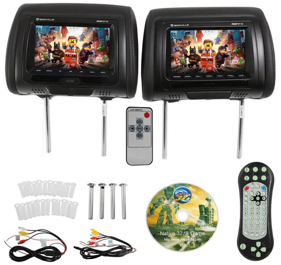 7 inches Black Car DVD/USB/HDMI Car Headrest Monitors with IR Transmitter Internal Speakers Video Games FM