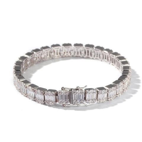Uwin Baguette CZ Bracelet Iced Out Zircon 8.5m HipHop Fashion Punk Chain Bling Bling Elegant Charms Jewelry 7inch 8inch