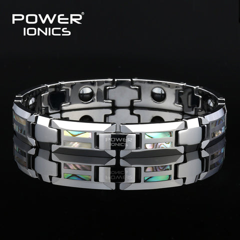 Power Ionics Magnetic Bracelet Men Luxury Natural Shell Never Scratch Tungsten Steel Bracelets For Women Cross Jewelry Gifts