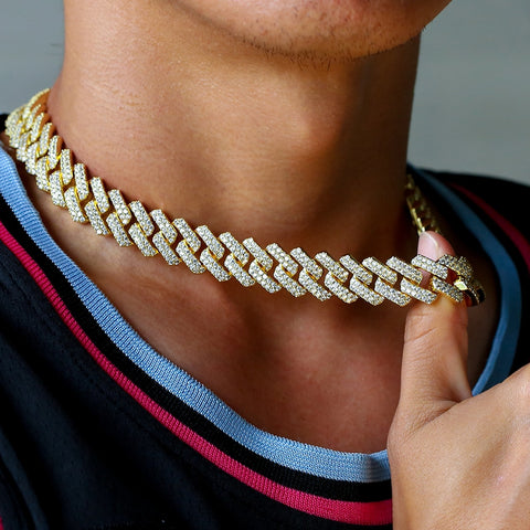 12mm Hip-Hop Jewelry cuban bling Plated Iced Out CZ Cuban Link Chain