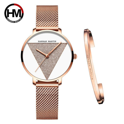 High Quality 1 set Bracelet & Japan Quartz Waterproof Young Lady Watch Stainless Steel Mesh Band Women Watches Relogio Feminino