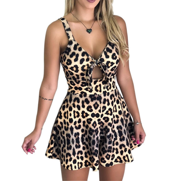 Women's Summer Leopard Print Jumpsuit Shorts Casual Short Sleeve V-neck Beach Rompers Sleeveless Bodycon Sexy Party Playsuit