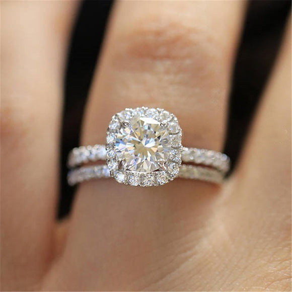 HT-11 2PC Bridal Ring with Round Brilliant Cubic Zircon Prong Setting Anniversary Engagement Wedding Rings for Women Size 6-8