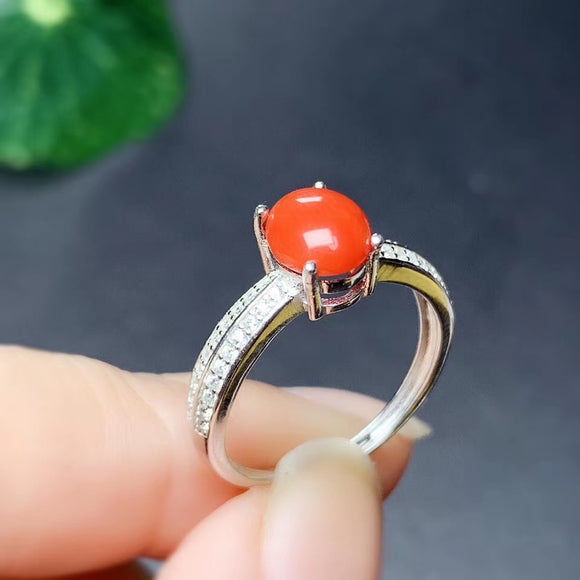 CoLife Jewelry 100% Natural Red Coral Silver for Daily Wear Natural 6*8mm Red Coral Ring Fashion Gemstone Ring