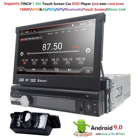 Universal 1 din Android 9.0 Quad Core Car DVD player GPS Wifi BT Radio BT 2GB RAM 16GB ROM16GB 4G SIM Network Steering wheel RDS - DRE's Electronics and Fine Jewelry: Online Shopping Mall