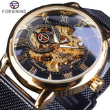 Winner Thin Case Full Golden Design Retro Openwork Clock Mesh Band Men's Mechanical Watches Top Brand Luxury Luminous Hands - DRE's Electronics and Fine Jewelry: Online Shopping Mall