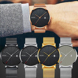 Mens Watches Business Sports Leisure Quartz WristWatch Stainless Steel Mesh Strap Ultra Thin Dial Date Clock Relogio Masculino - DRE's Electronics and Fine Jewelry: Online Shopping Mall