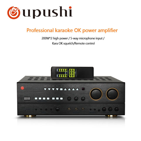 Professional  2*200W Big Power Amplifiers Audio Karaoke Amplifier Home Theater Stage Sound System