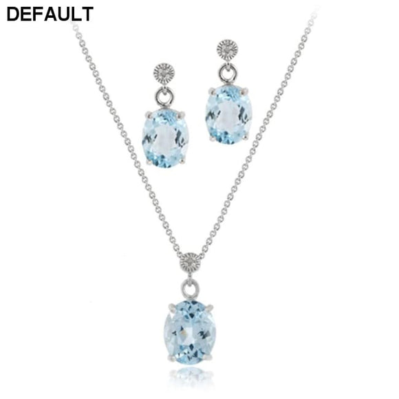 Sterling Silver 6&1/2ct Blue Topaz & Diamond Accent Oval Pendant Earring Set - DRE's Electronics and Fine Jewelry: Online Shopping Mall
