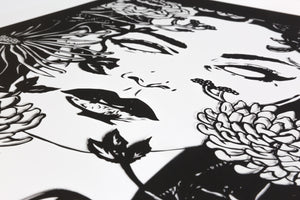 Close up view of Ophelia screen print by Benjamin Murphy