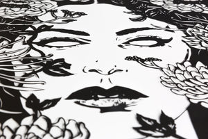Face view of Ophelia screen print by Benjamin Murphy