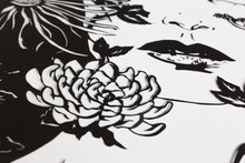 Detail view of flower in the Ophelia screen print by Benjamin Murphy