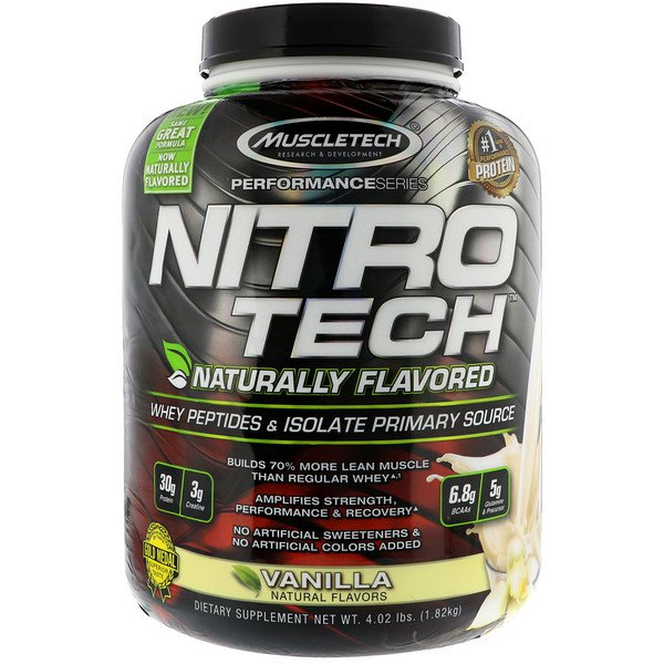 MuscleTech 肌肉科技 NitroTech Naturally Flavoured - 天然精純分離乳清蛋白(不含人工代糖、色素)
