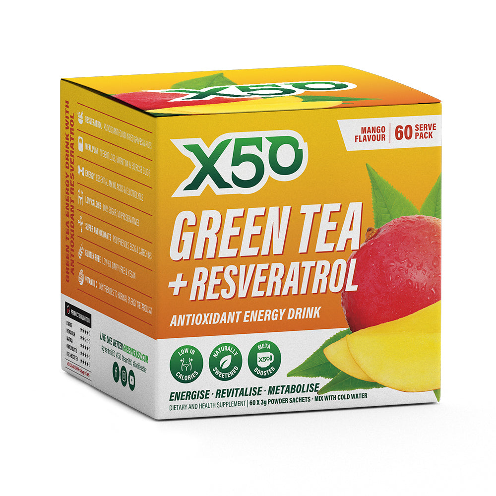 Green Tea X50 Australia Natural Cellulose Accelerating Metabolism Formula 20 times Green Tea Extract Super Antioxidant Resveratrol (60 Pack)