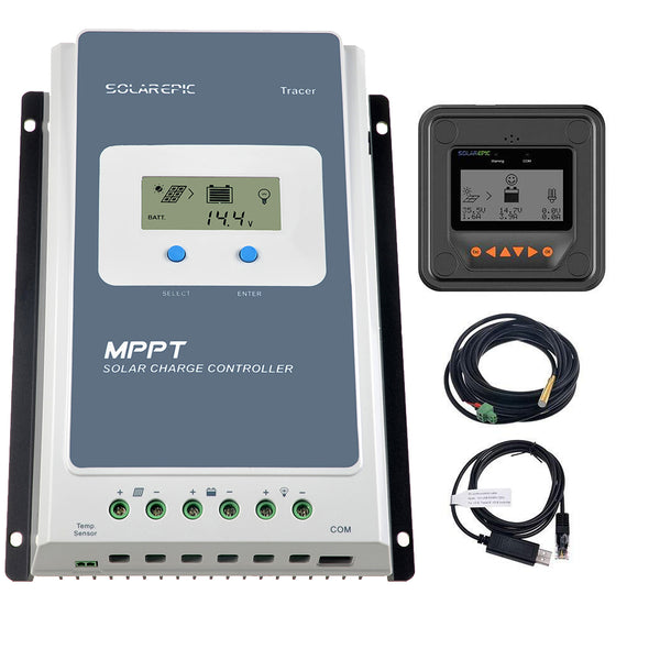 EPEVER MPPT Solar Charge Controller Tracer AN Series 10A//20A//30A//40A with 12V//24V DC Automatically Identifying System Voltage 40A+MT50