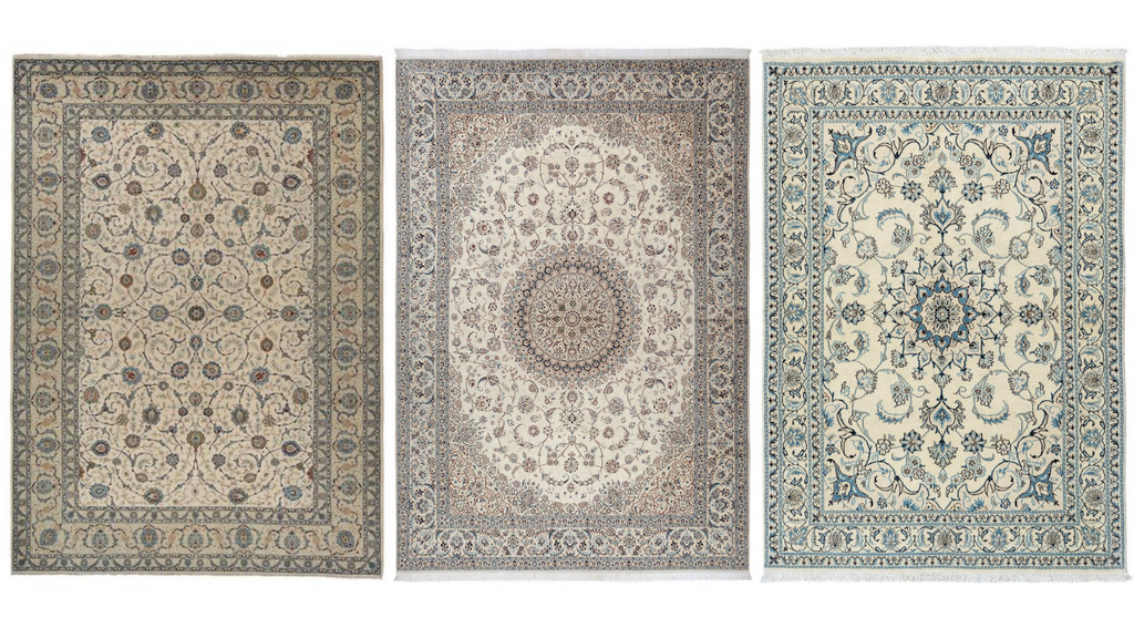 persian nain and kashan cream rugs at lilla rugs