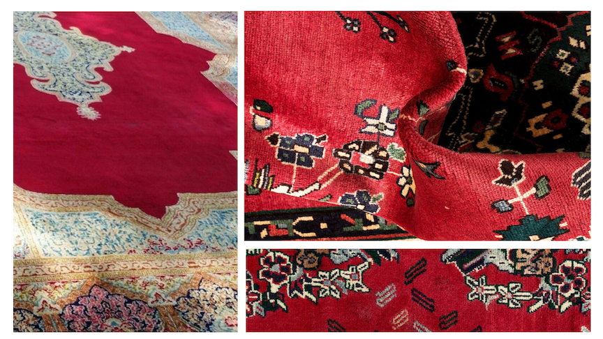 Before Overdyed Persian Kerman Rugs