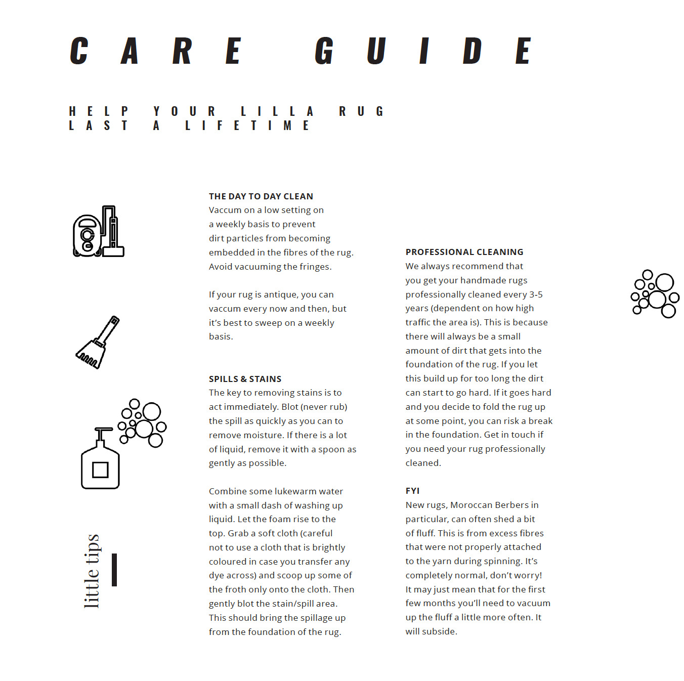 care guide lilla rugs