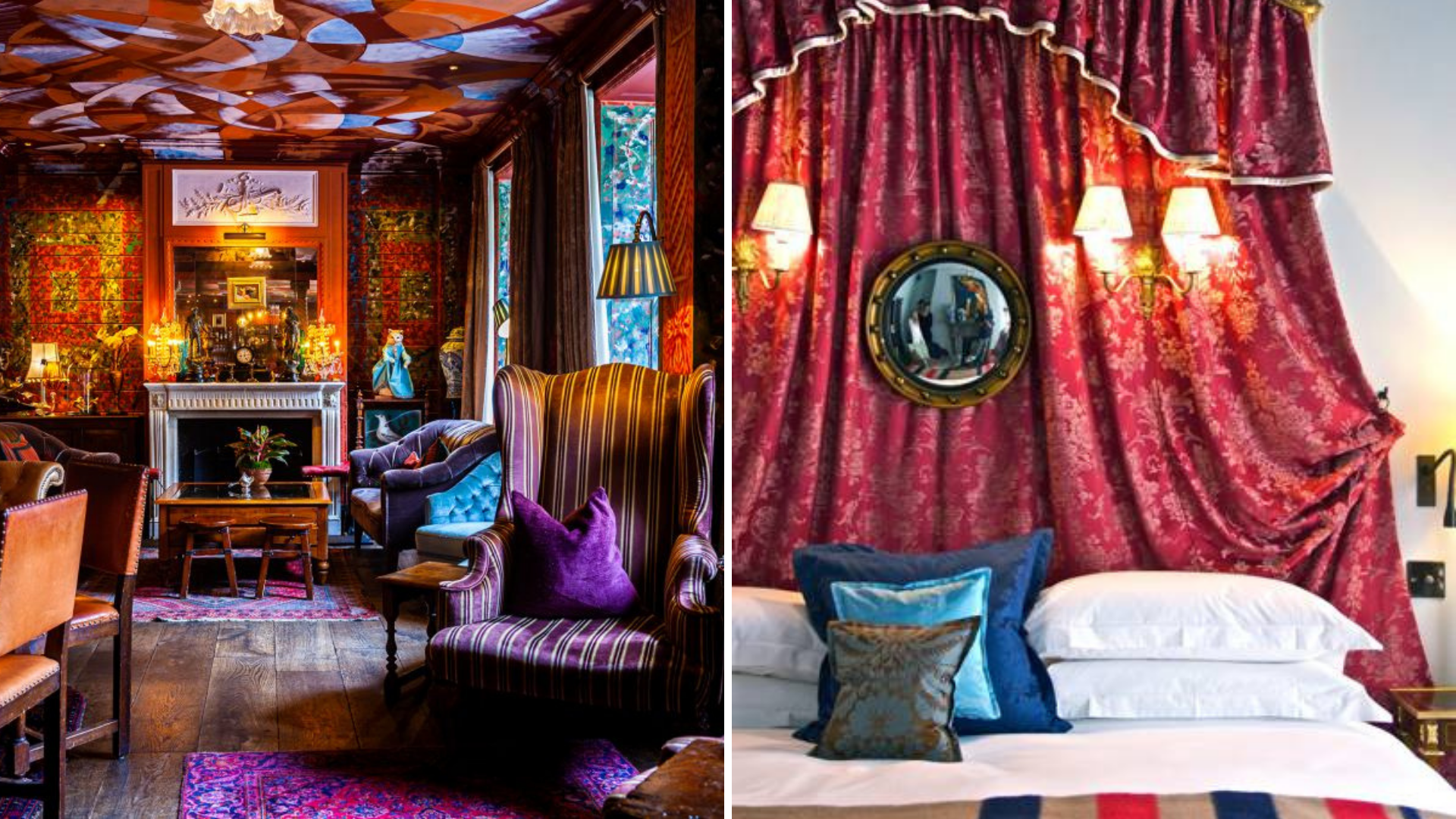The Zetter townhouse in Clerkenwell bar and bedroom.