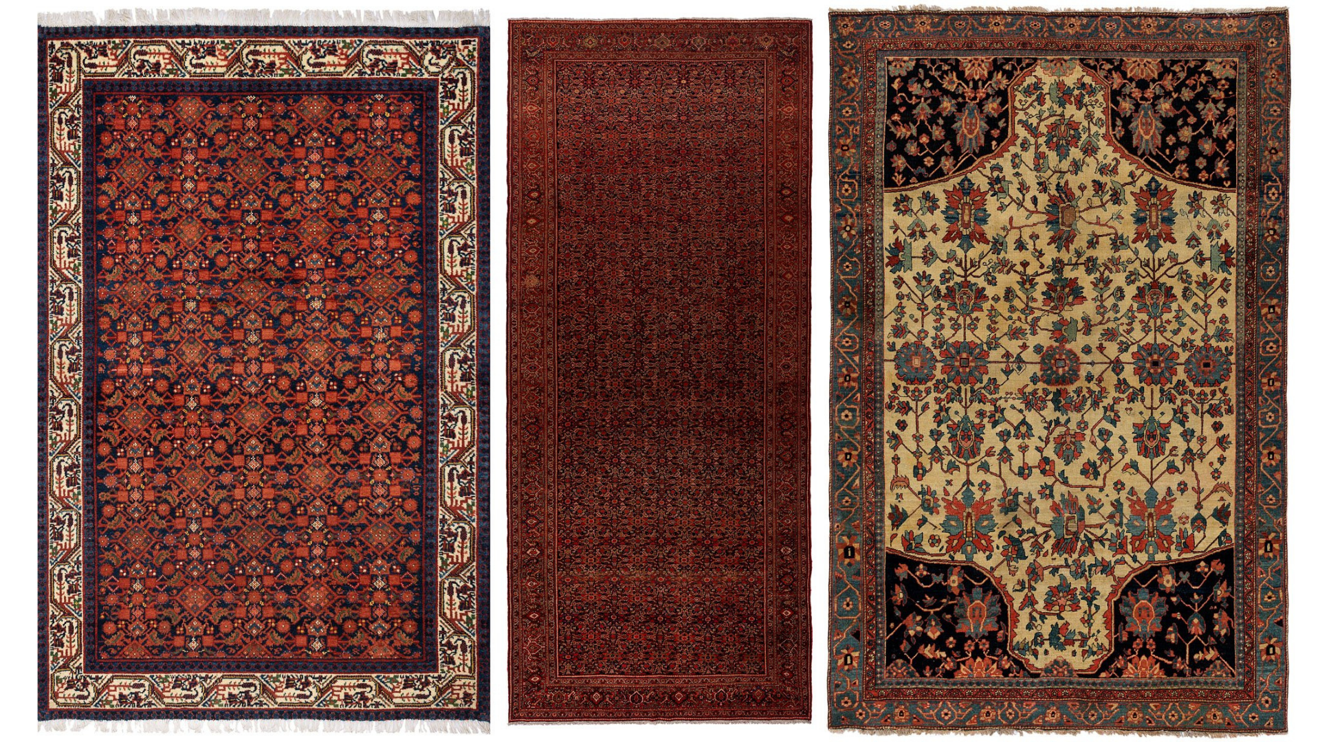 Image of three rugs including the LIVI Vintage Persian Malayer rug, the SEZAR Antique Persian Farahan Rug and the ARIKARA Antique Persian Farahan Rug