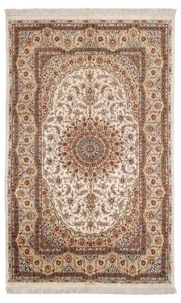 HOLLY Persian Qum Silk 198x128cm Cream Rug