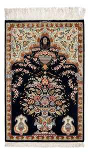MIDNIGHT Persian Qum Silk 89x58cm