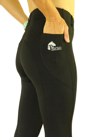 Riding tights in Black - No Silicone Seat - Available in sizes 6 to 28